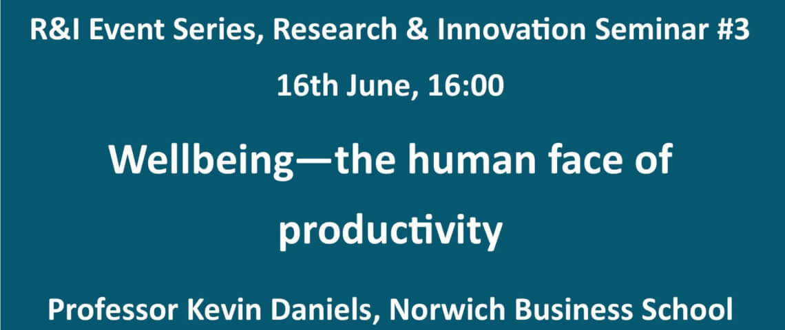 Wellbeing – the human face of productivity